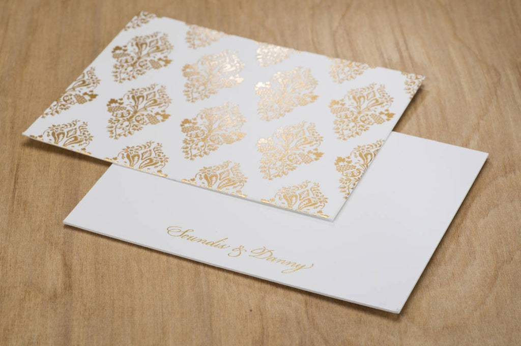 Gold Foil Damask 10 units Boxed set of Notecards