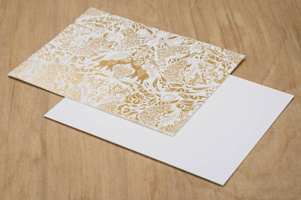 Gold Foil Elephant Set of 10 units boxed card notecards