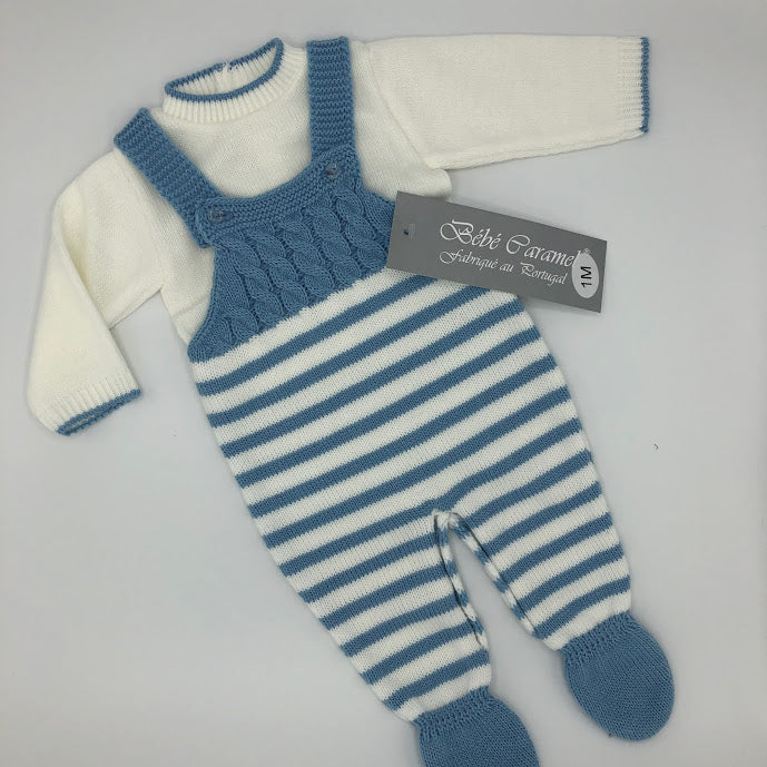 Spanish Portuguese Knitted Dungarees & Top White & Blue