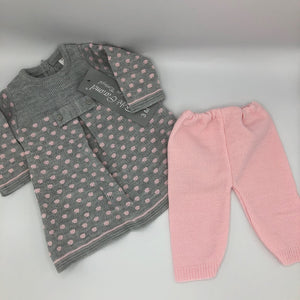 Portuguese Knitted Baby Dress & leggings Grey & Pink New Arrival