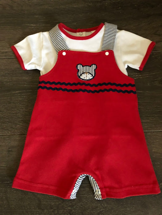 Baby Boy's 2 Piece Traditional Short Dungaree Outfit Red & White