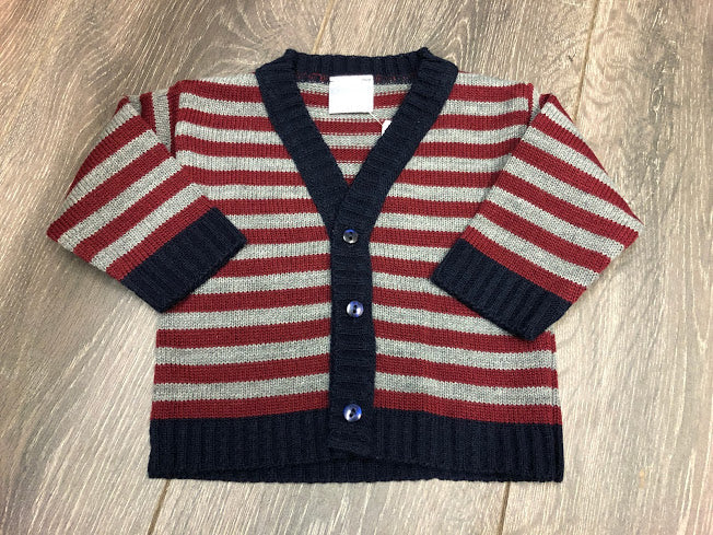Baby Boy's Cardigan Grey Navy & Red Stripe
