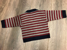 Load image into Gallery viewer, Baby Boy's Cardigan Grey Navy & Red Stripe