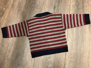 Baby Boy's Cardigan Grey & Red Stripe