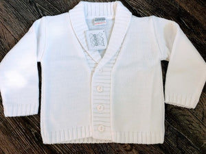 Baby Boy's Jacket Style Cardigan Pale Blue White Roll Neck