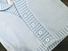 Load image into Gallery viewer, Baby Boy's Jacket Style Cardigan Pale Blue White Roll Neck