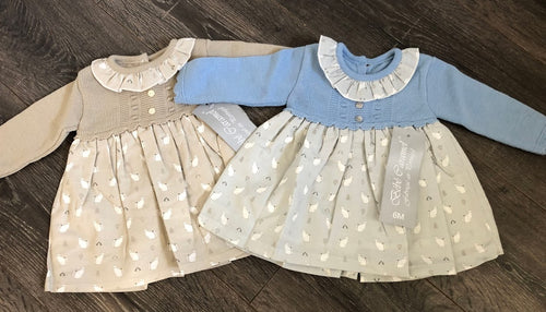 Baby Girl's Spanish Style Portuguese Dress & Knickers Blue Grey Stone