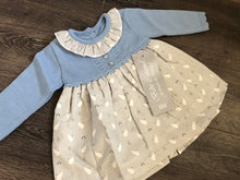 Load image into Gallery viewer, Baby Girl's Spanish Style Portuguese Dress & Knickers Blue Grey Stone