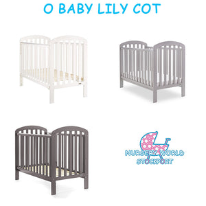 O Baby Lily Cot - Taupe Grey, Warm Grey, White