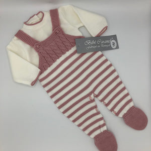 Spanish Portuguese Knitted Dungarees & Top Pink New Arrival