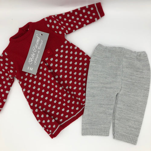 Portuguese Knitted Baby Dress & leggings Red & Grey New Arrival