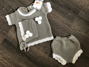 Baby Boy's & Girl's 3 Piece Portuguese Knitted Outfit