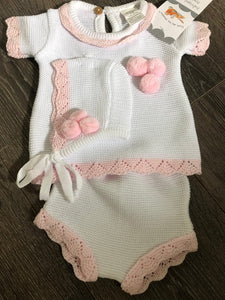 Baby Girl's 3 Piece Knitted Cotton Spanish Style Outfit with Bonnet Bobbles in White & Pink