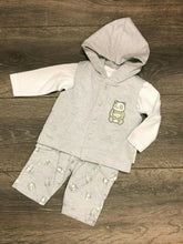 Load image into Gallery viewer, Baby Boy's 3 Piece Outfit in Grey & White with Hood