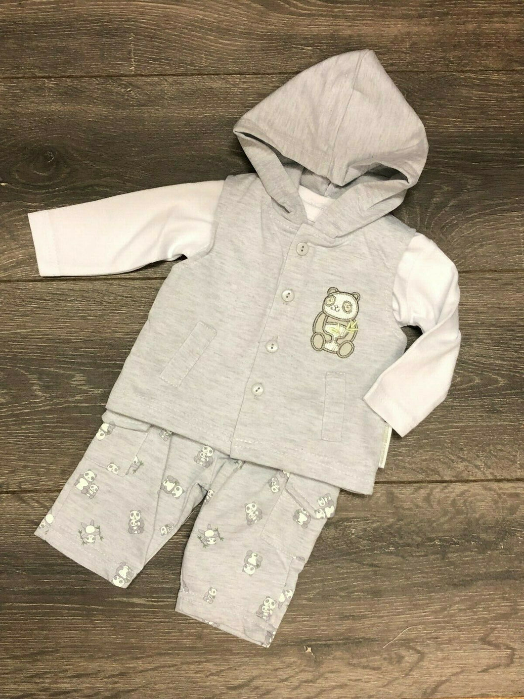 Baby Boy's 3 Piece Outfit in Grey & White with Hood