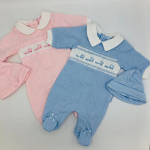 Load image into Gallery viewer, Premature Preemie Prem Tiny Baby Girl's or Boy's all in one Outfit with Smocking- Pink or Blue