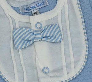 Baby Boy's All in One Suit with Bow Tie Pale Blue