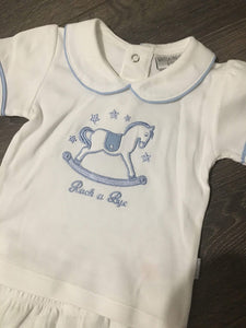 Baby Girl's or Boy's 2 Piece Suit white & Pale Blue