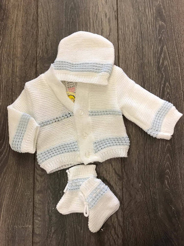 Baby Boy's Cardigan Set with Bootees and Hat White & Blue -3629