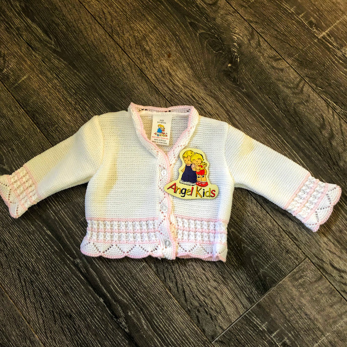 Baby Girl's 'V' Neck Cardigan White & Pink New Arrival