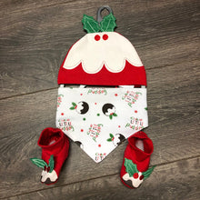 Load image into Gallery viewer, Baby's First Christmas Baby Girl's or Boy's Bib, Hat & Bootee Set New Arrival