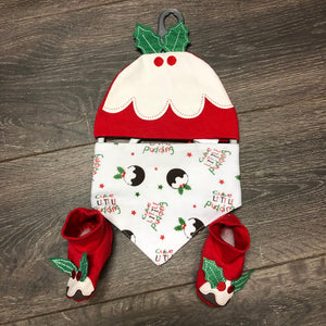 Baby's First Christmas Baby Girl's or Boy's Bib, Hat & Bootee Set New Arrival