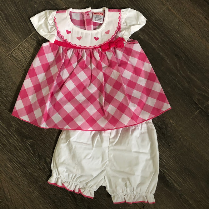 Baby Girl's Summer Dress & Knickers Pink & White