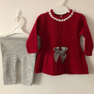 Baby Girl's Spanish Style Knitted Dress with Bow & Leggings Red & Grey - 4552