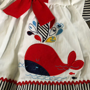 Baby Girl's Summer Dress Knickers & Headband Navy Red White- 1843