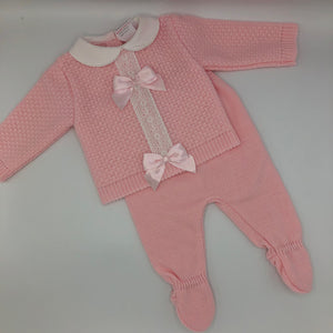 Portuguese Knitted Baby Girl's 2 Piece Top & leggings Pink New Arrival