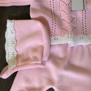 Baby Girl's or Blue Newborn Spanish Knitted 3 Piece Outfit Pink Blue Dusky Pink