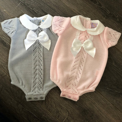 Baby Boy's or Girl's Spanish Fine knit outfit Pink or Grey with Bow