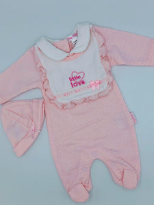 Premature Preemie Prem Tiny Baby Girl's all in one Outfit - Pink