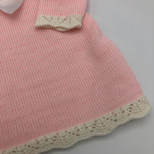 Load image into Gallery viewer, Baby Girl's Spanish Style Knitted Pink Dress With Large White Satin Bow