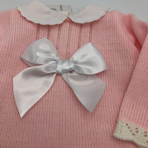 Baby Girl's Spanish Style Knitted Pink Dress With Large White Satin Bow
