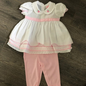 Baby Girl's Summer Dress with Leggings Pink & White