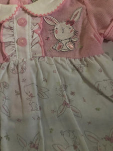 Baby Girl's 1 Piece Suit Pink & White with Bunny Design