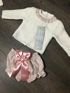 Baby Girl's Portuguese Knitted 2 Piece with Bow