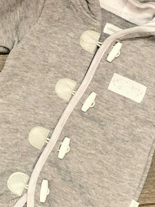 Baby Grey Hooded Cotton Rich Pram suit all in one
