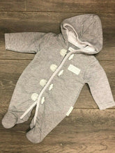 Load image into Gallery viewer, Baby Grey Hooded Cotton Rich Pram suit all in one
