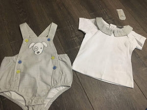 Baby Boy's 2 Piece Suit White & Grey Cotton Romper