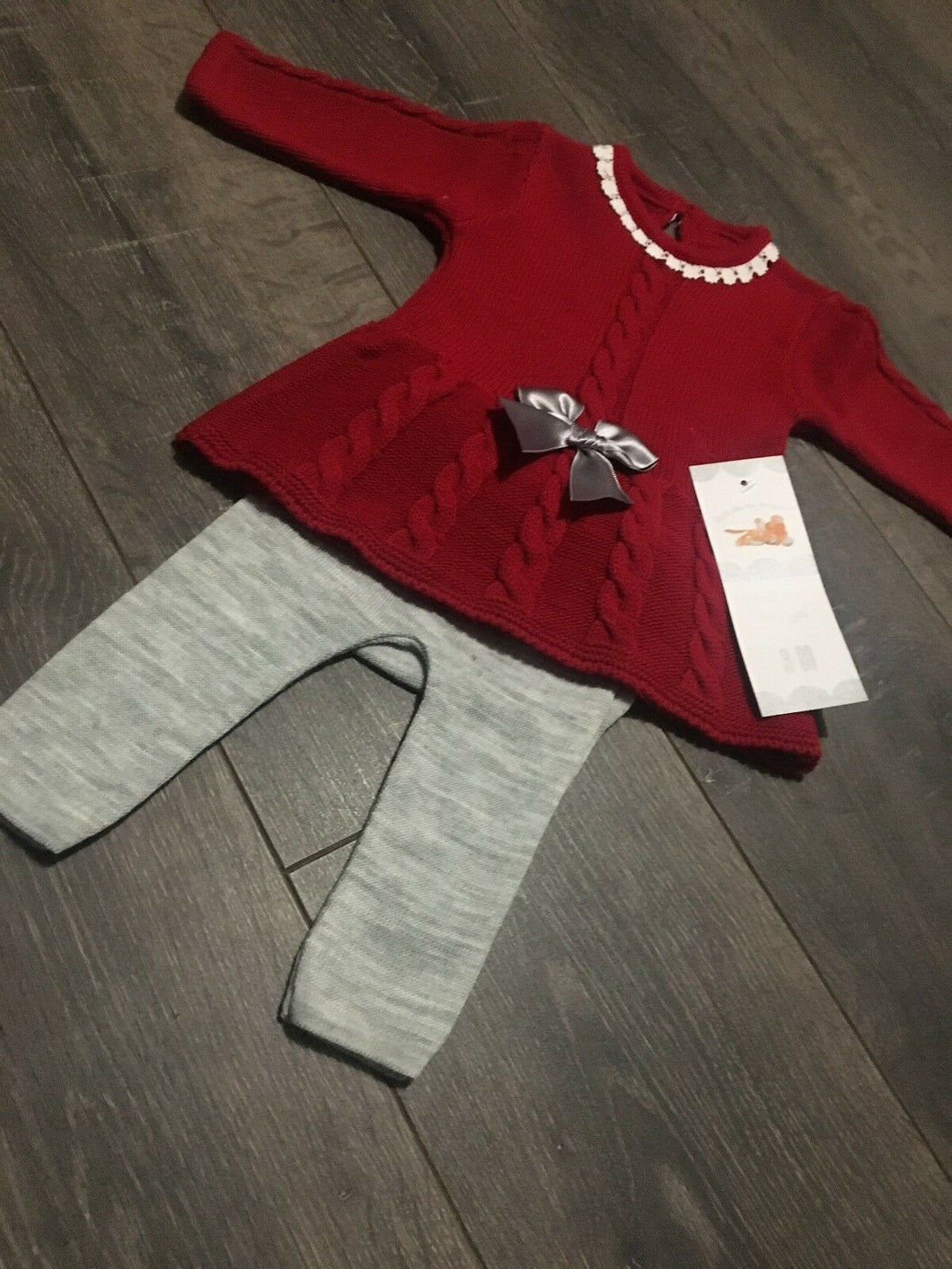 Baby Girl's Spanish Style Knitted Dress with Bow & Leggings in Red & Grey