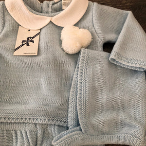 Baby Boy's Girl's White Pale Blue Pink Grey Newborn Spanish Knitted 3 Piece Outfit