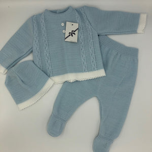 Newborn Baby 3 Piece Knitted Outfit Pale Blue New Arrival