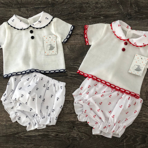 Baby Boy's or Girl's Spanish Style Outfit White Red Blue