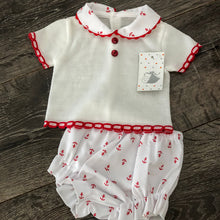 Load image into Gallery viewer, Baby Boy's or Girl's Spanish Style Outfit White Red Blue