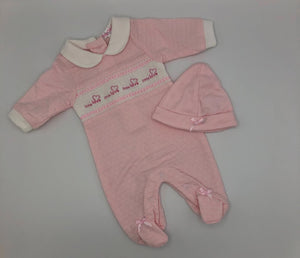 Premature Preemie Prem Tiny Baby Girl's or Boy's all in one Outfit with Smocking- Pink or Blue
