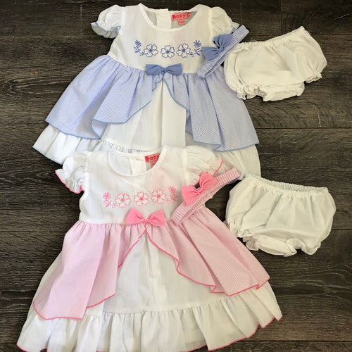 Baby Girl'sSummer Dress & Knicker Set White with Pink or Blue
