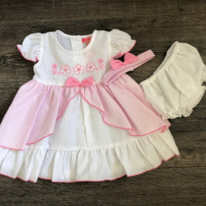 Baby Girl's Summer Dress & Knicker Set White with Pink or Blue