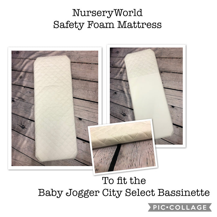 Safety Foam Pram Mattress Fits Baby Jogger City Select Bassinette FREE UK POSTAGE